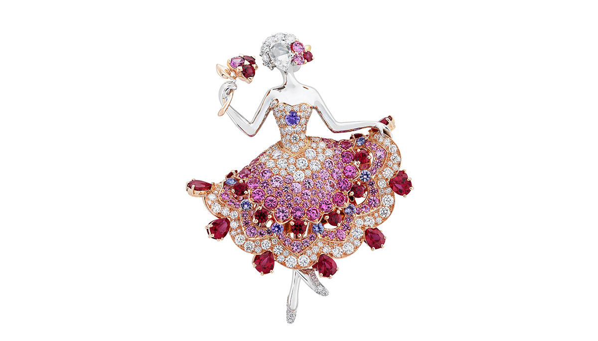 Van Cleef&Arpels Ballerina brooch with rubies, pink and purple sapphires and diamonds