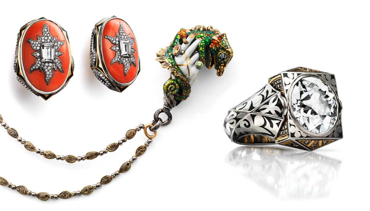 From left to right: Otto Jacob Korol earrings with coral, diamonds and vitreous cloisonné enamel, 2016; Hand With Panther Chameleon pendant in gold with brown and black diamonds, mandarin garnet, demantoids, trapiche emeralds rock crystal and vitreous enamel, 2016; Mjölnir ring with 6,32 cts diamond gold and enamel, 2016