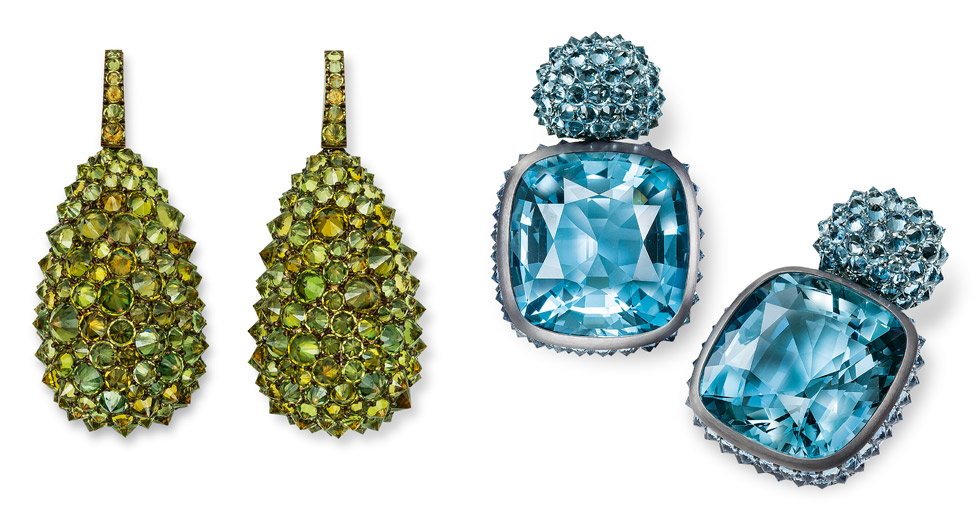 Hemmerle earrings paved with gemstones set in reverse