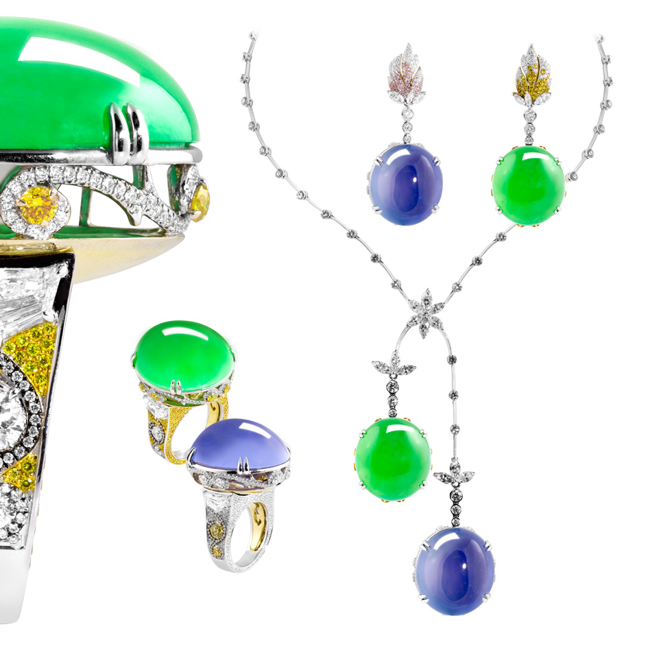 Alessio Boschi green and lavender jade rings with removable gems that can be worn on a necklace or earrings