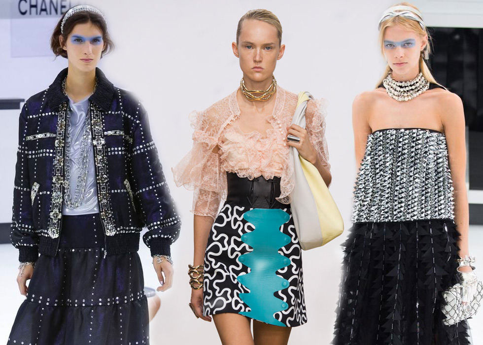 These models exemplify volume created via layering jewellery in Spring – Summer 2016. From left to right: Chanel layered sautoirs, J.W. Anderson wave chocker, Chanel 4-string choker