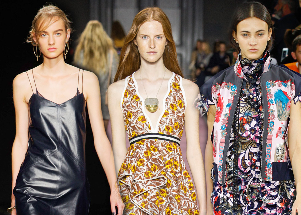 From left to right: fine hoop earrings on Rag & Bone model; fine chain pendant on Giambattista Valli model, solo earrings with a pearl on a chain worn by Sacai model. All Spring – Summer 2016 collections
