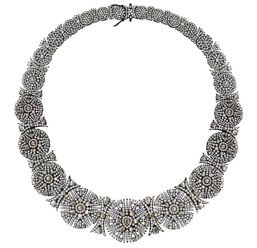 Brown and white diamonds necklace by Sutra