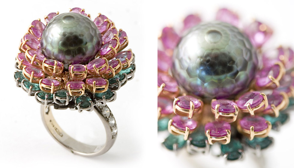 Nardi Ninfea ring set with sapphires and a faceted pearl