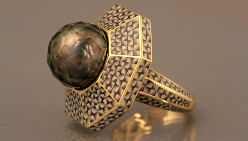 Ilgiz F. enamel ring with a Tahitian pearl faceted by Viktor Tuzlukov