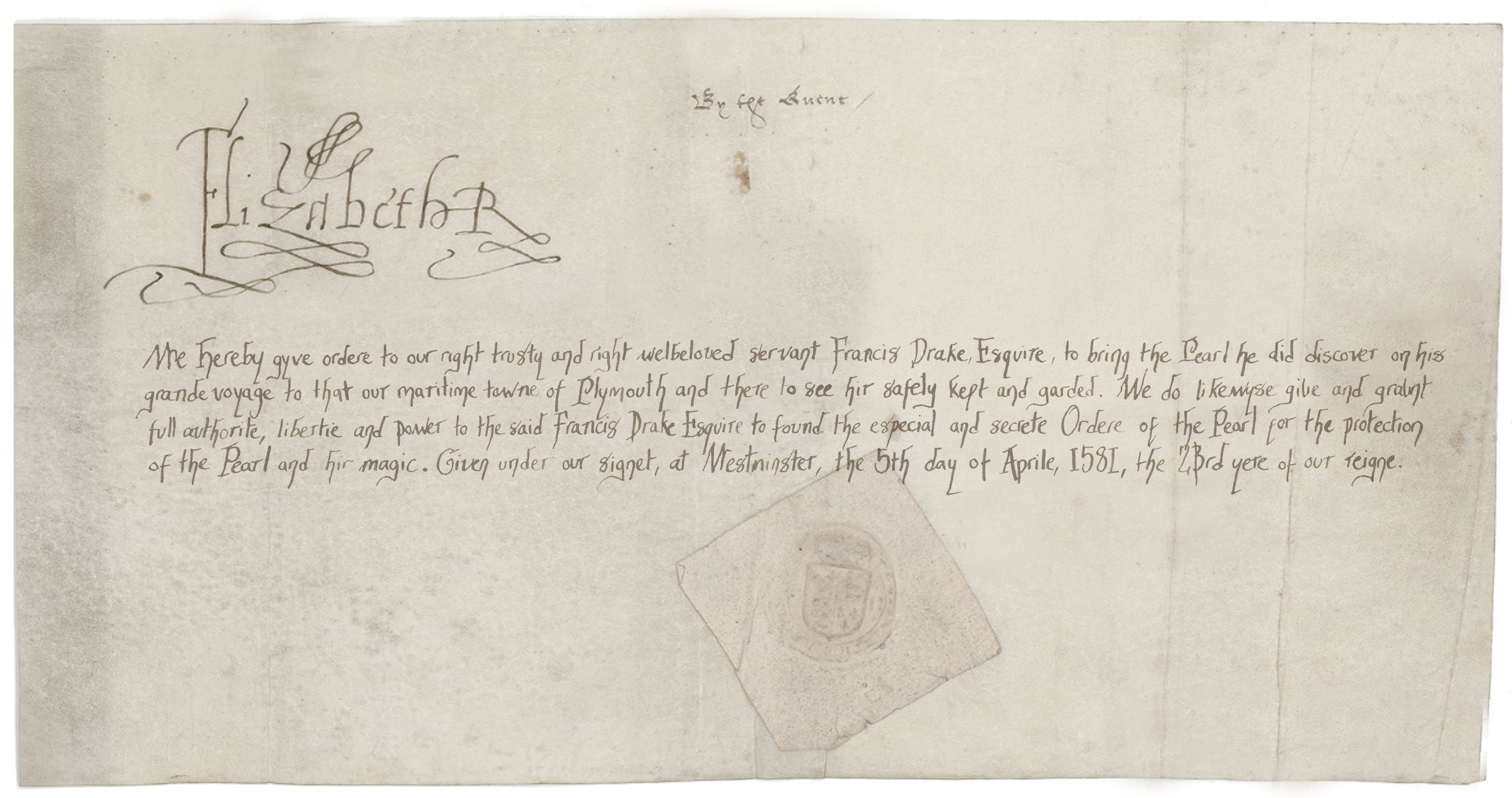 Queen Elizabeth I letter to Drake establishing the Order of the Pearl