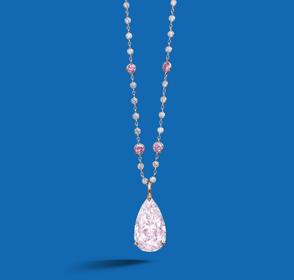 An important fancy colour diamond pendant. The pear-shaped fancy light purplish pink diamond, weighing 9.21 carats, suspended from a chain necklace accented by brilliant-cut diamonds of purplish pink tint and similarly cut colourless diamonds (approximately 3.15 cts total). Est. $ 1.5 million – $ 1.9 million