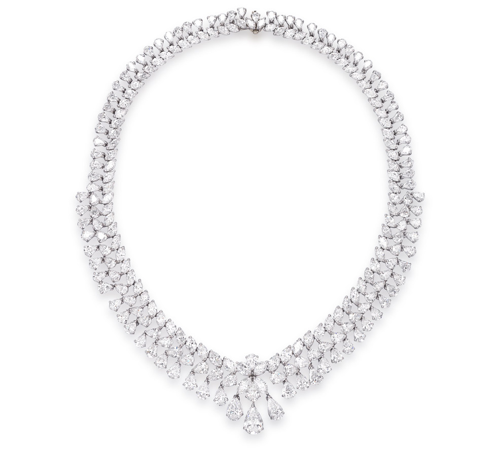 An important diamond necklace by Marina B. The front centring a pear-shaped diamond, weighing 2.93 carats, total diamond weight approximately 88 cts total. Colours D-E, clarity VS1 – VS2. Est. $ 230,000 – $ 320,000