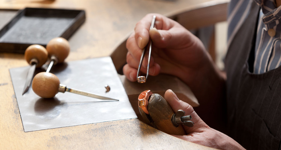 A copper ring being worked on at the Hemmerle atelier. Courtesy Hemmerle