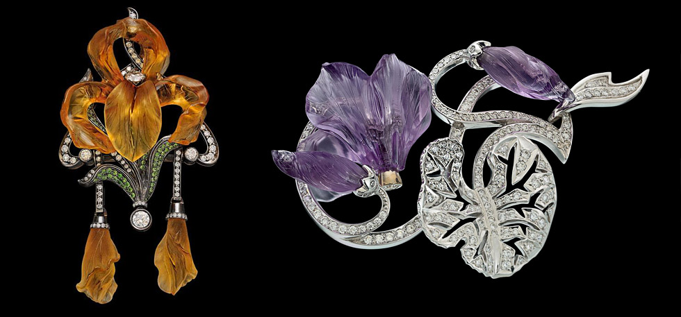 Ekaterina Kostrigina carved gemstones and diamonds pendant and brooch with diamonds