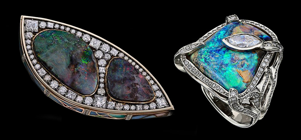 Ekaterina Kostrigina opal brooch and ring with diamonds
