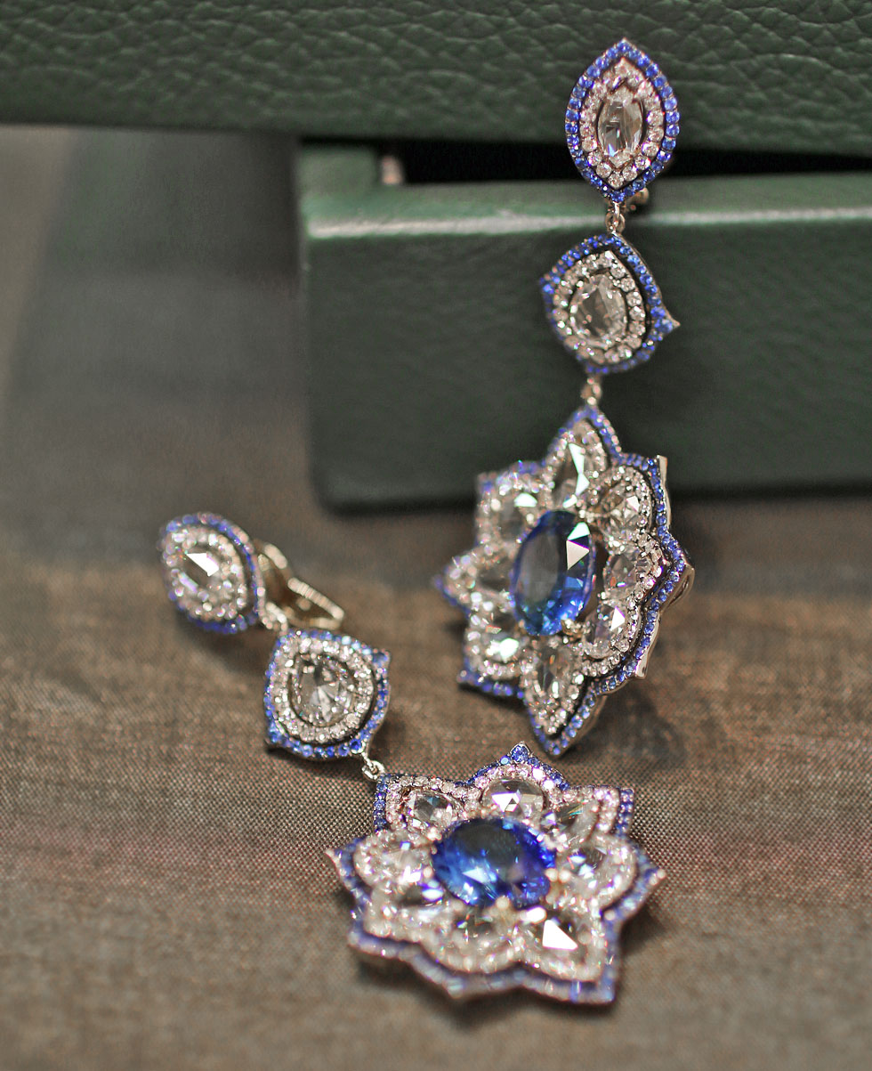 Ivy New York earrings with sapphires and diamonds