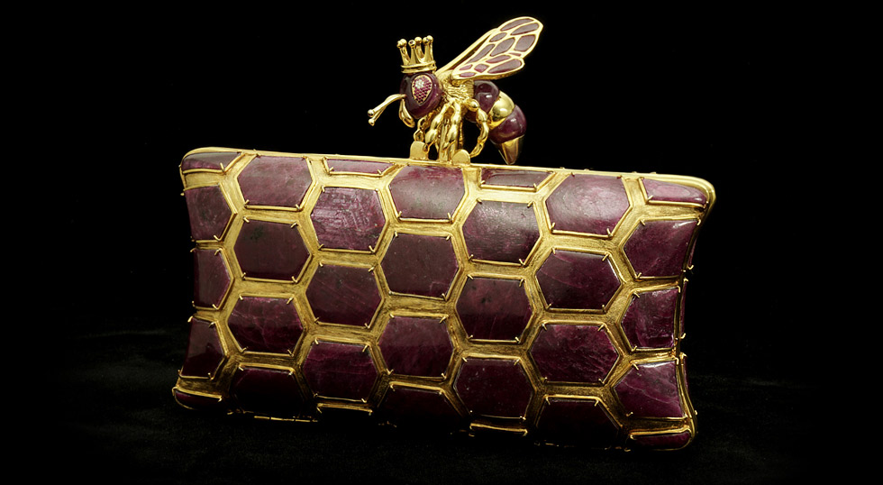 The original L'AQUART Tanzanian Ruby and Diamonds Kleodora Queen Bee clutch