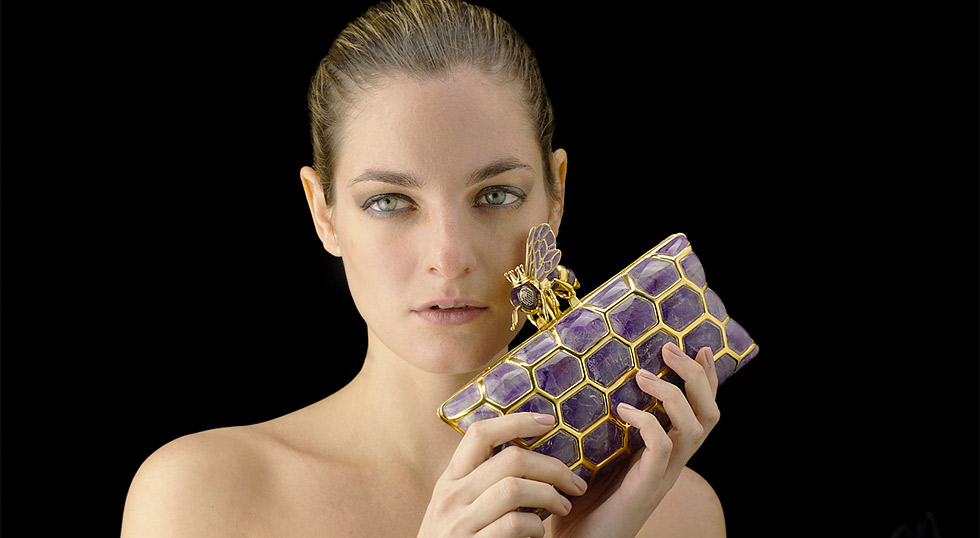 L'AQUART Amethyst Queen Bee Clutch