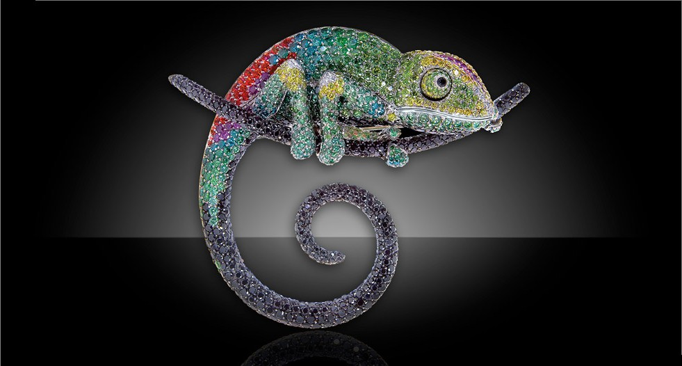 Chameleon brooch by Palmiero with diamonds and sapphires