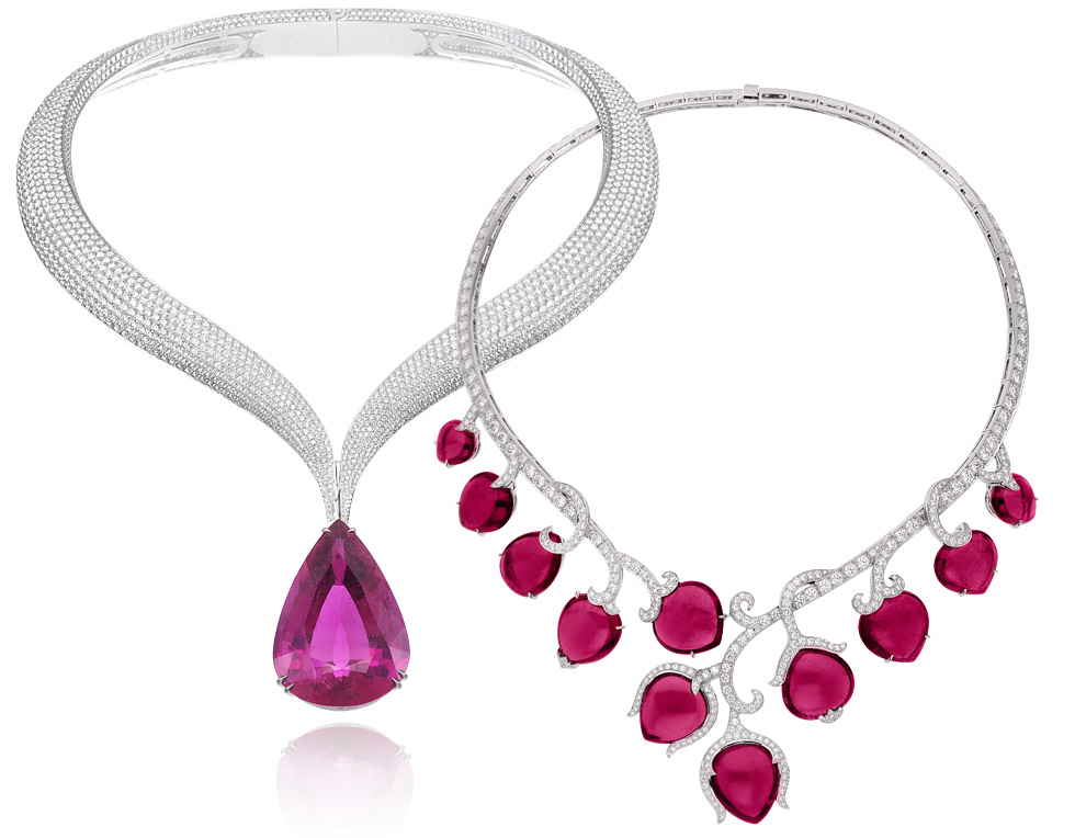 Left: Chopard rubellite and diamonds necklace from the Red Carpet collection; Right: Van Cleef&Arpels Boboli necklace with cabochon rubellites and diamonds