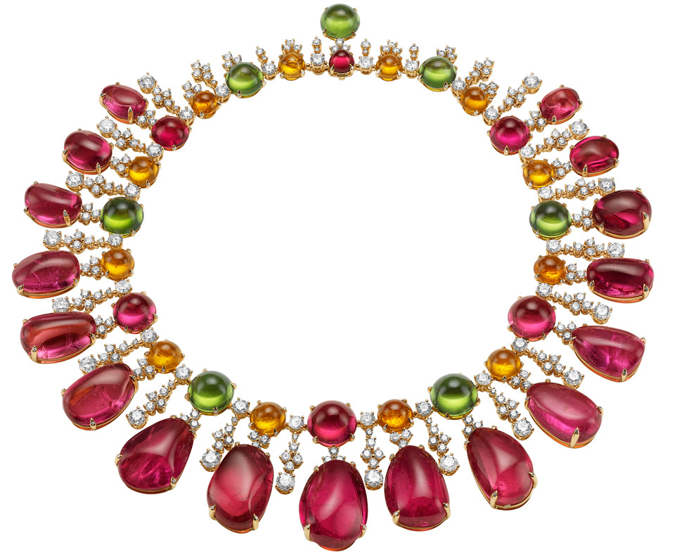 Bulgari Gala in Costa Smeralda necklace with rubellites, peridots, garnets and diamonds