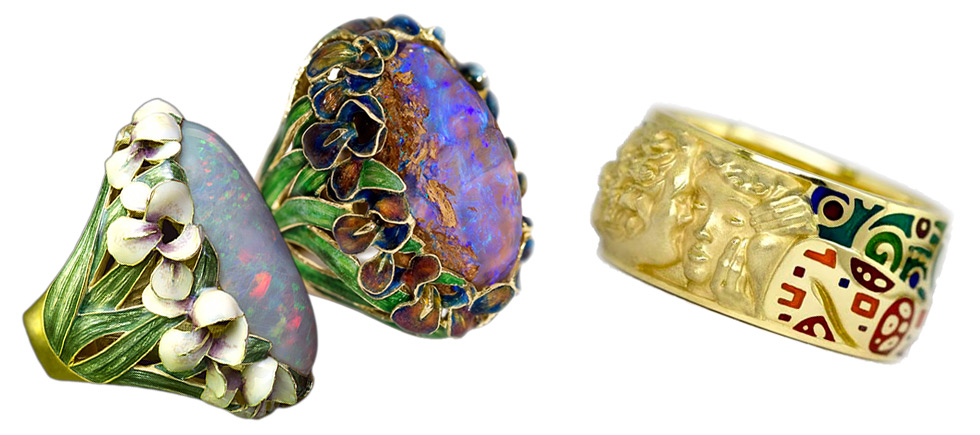 LEFT: Ilgiz F. Iris rings inspired by the flowers from Monet paintings; RIGHT: Cellini studio ring inspired by Gustav Klimt's painting