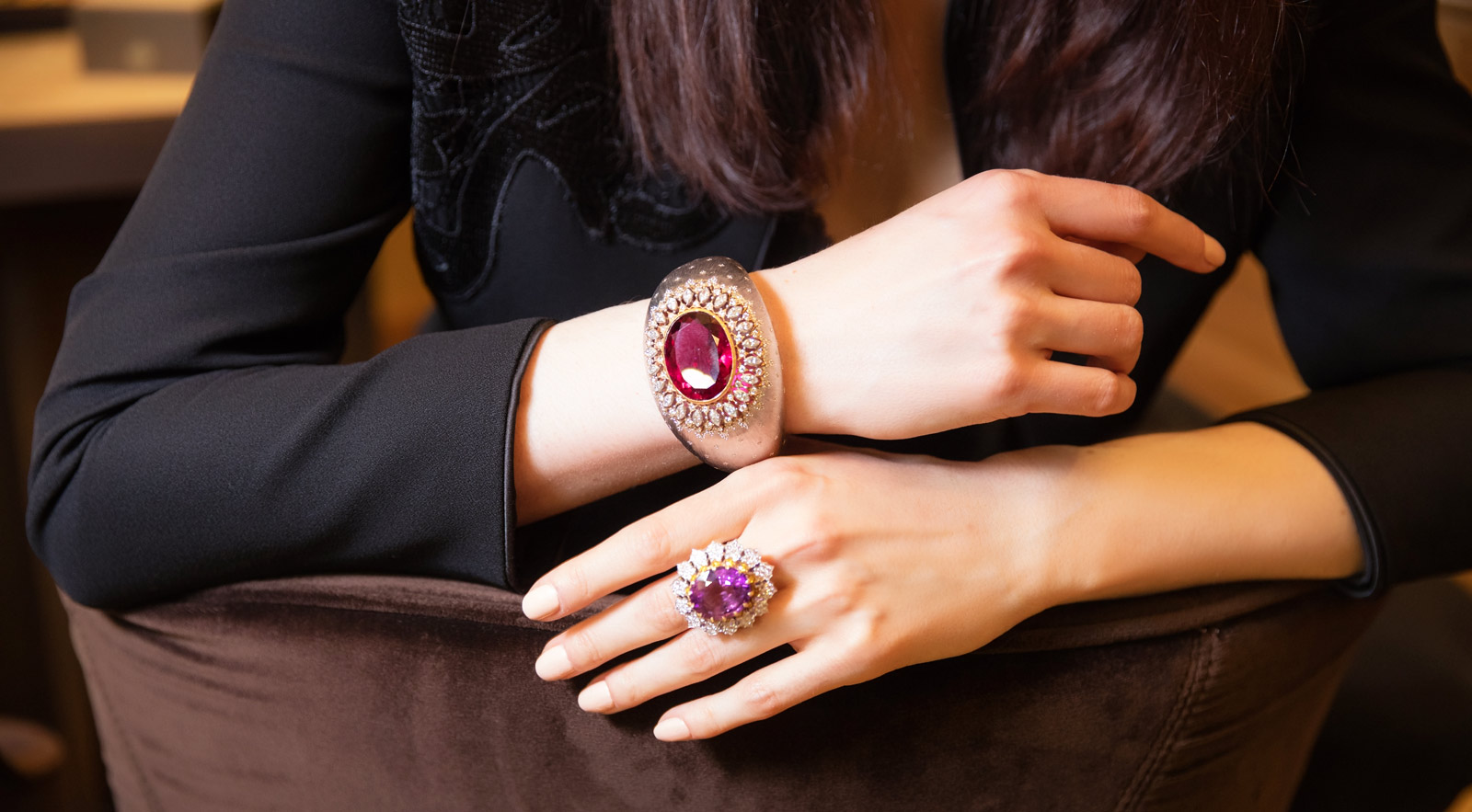 Buccellati rubellite cuff bracelet and kunzite ring. Photographer: Simon Martner