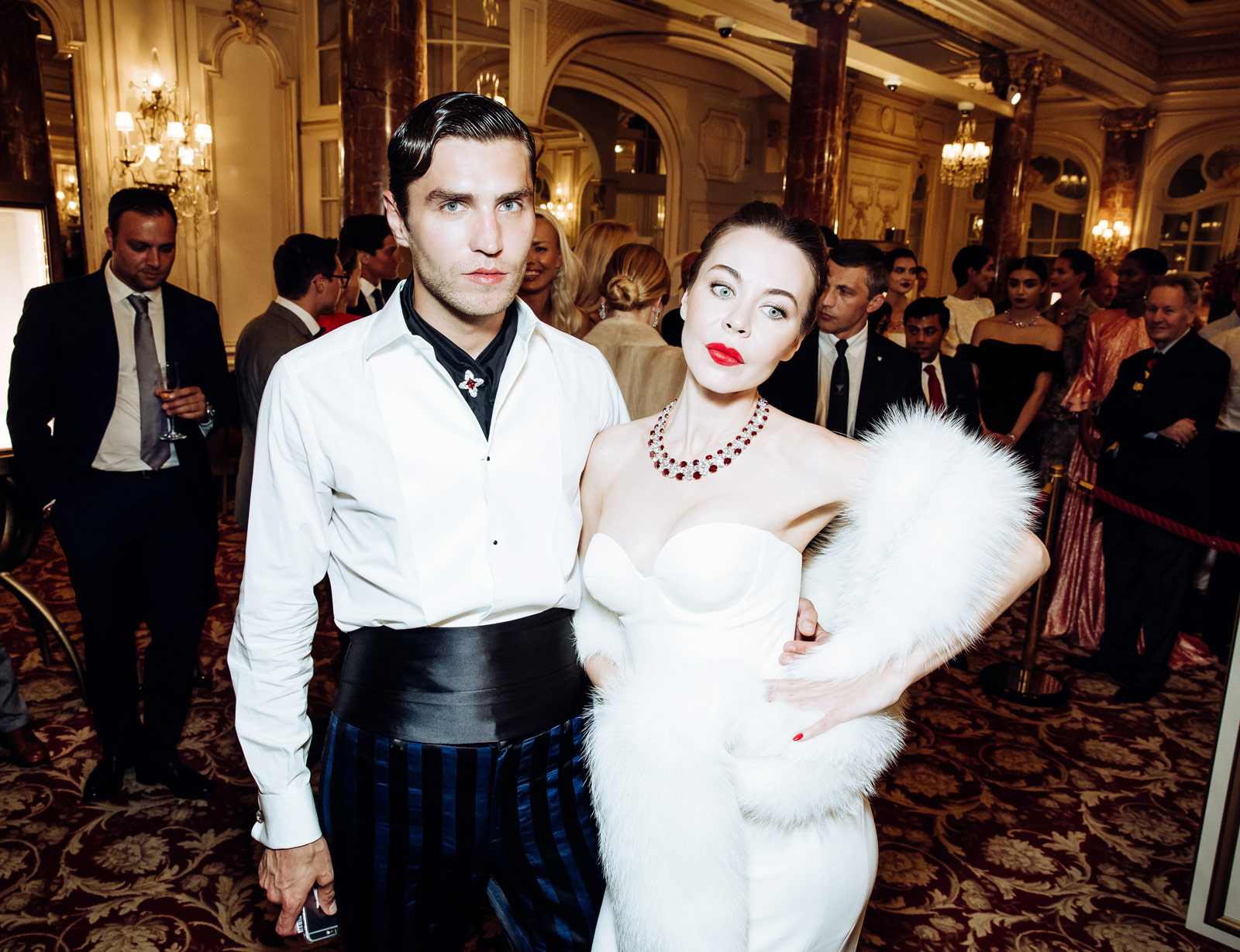 Frol Burimskiy and Ulyana Sergeenko wearing The Imperial Necklace with 50 Burmese Rubies and top quality diamonds
