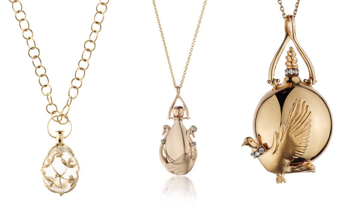 Left: Temple St Clair Vine Amulet; right: Melie Jewellery pendants in yellow and rose gold from Scent of Love collection