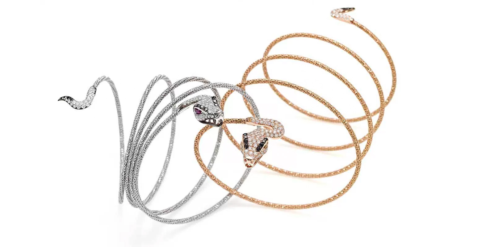 Giovanni Ferraris Snake bracelets in white and rose gold with diamonds