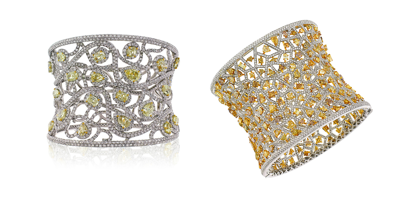 Avakian cuff bracelet in white gold with colourless and yellow diamonds