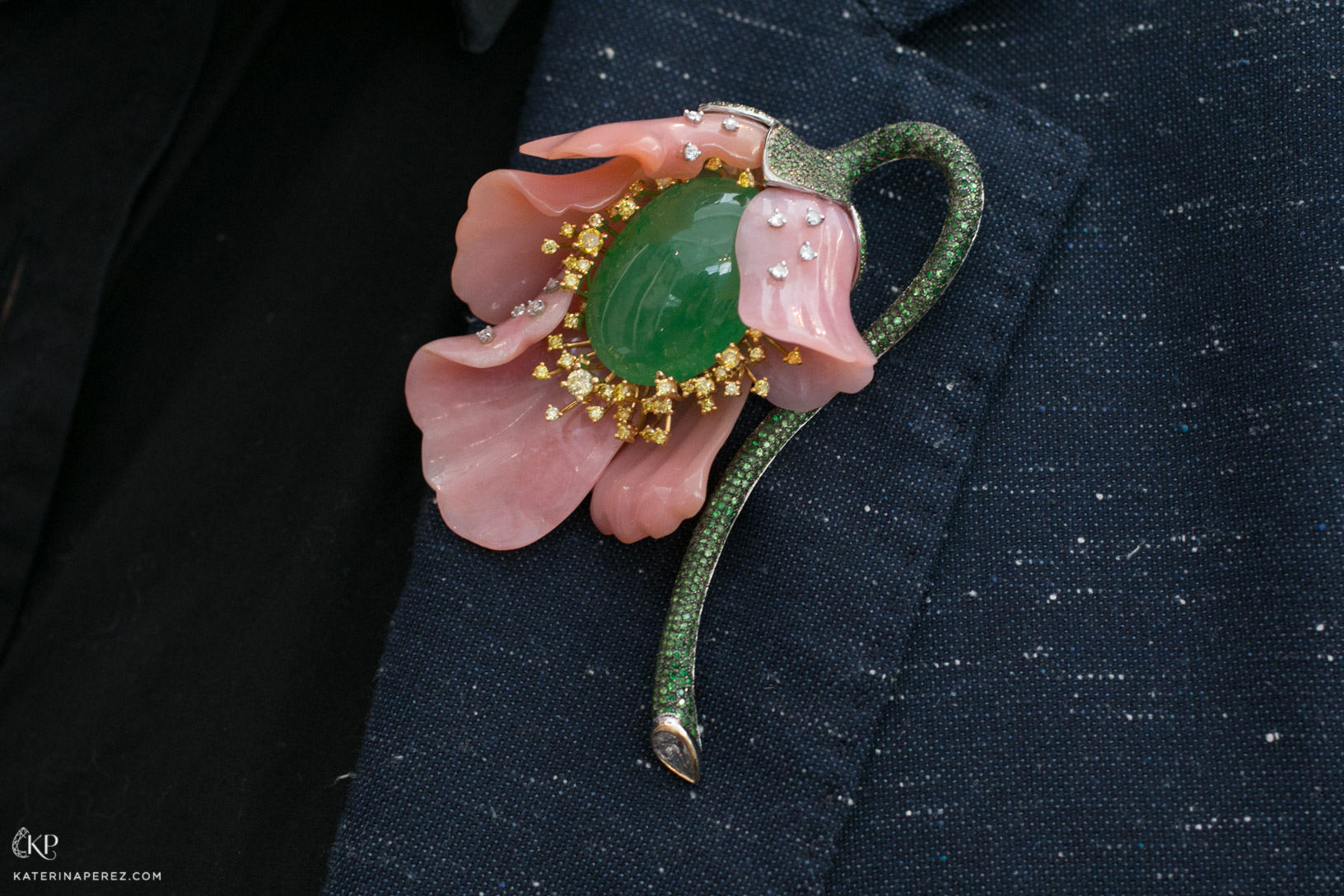 Fei Liu Poppy brooch with pink opal, jade and diamonds