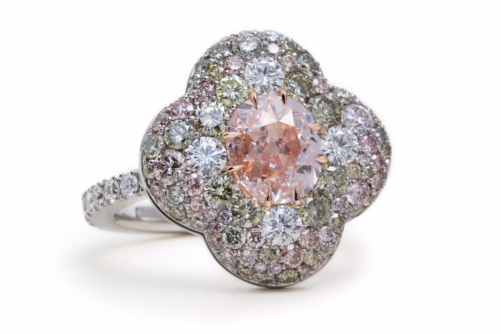 David Michael flower ring with an antique pink diamond ring, green and colourless diamonds