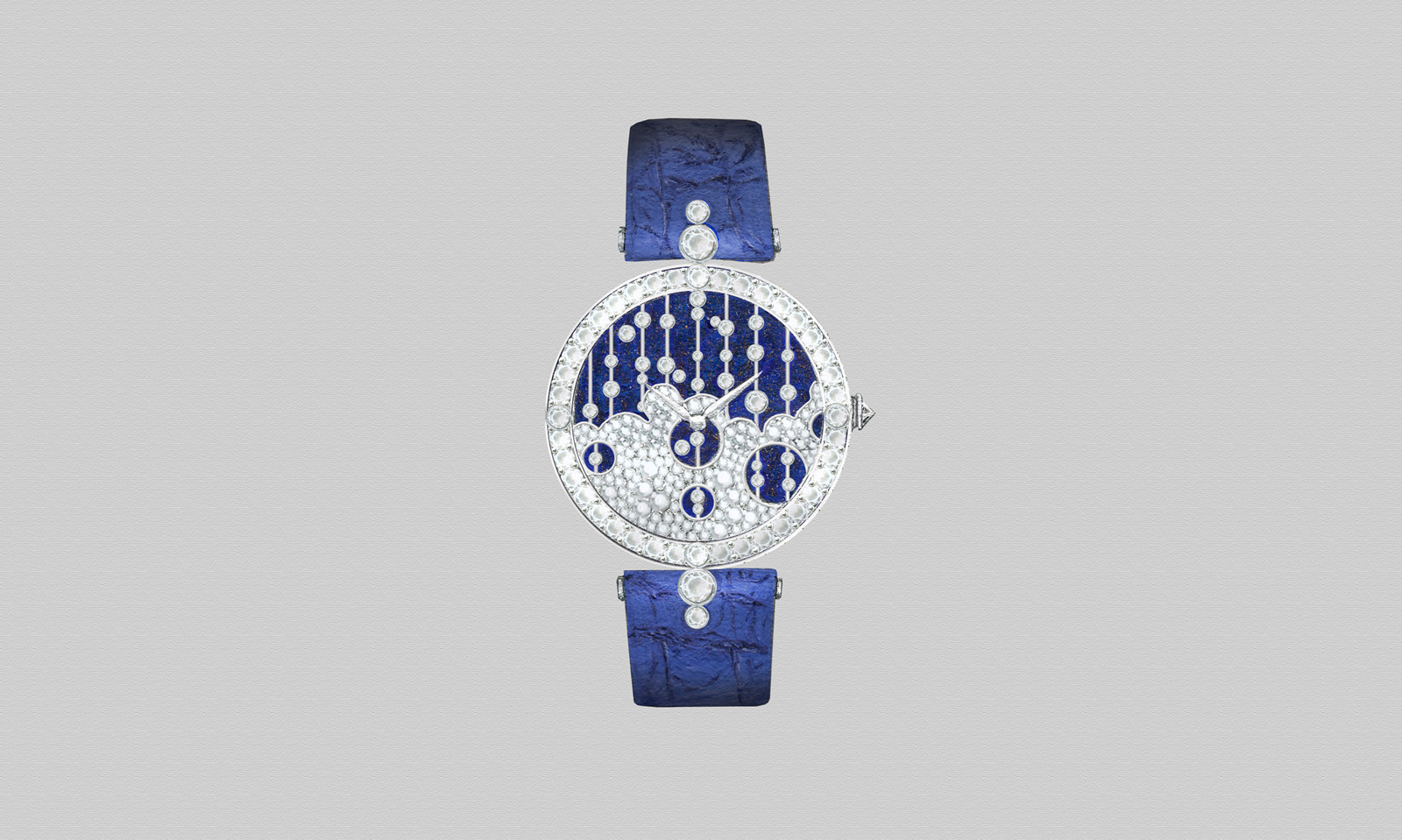 Raindance Blue Aventurine White Gold Watch with 3.15ct round brilliant cut diamonds
