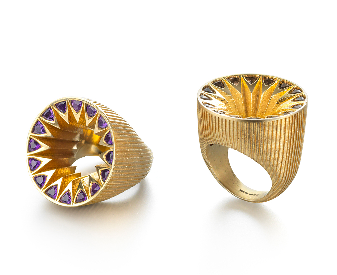 Flora Bhattachary's Trillion Set Silver Gilt Rings