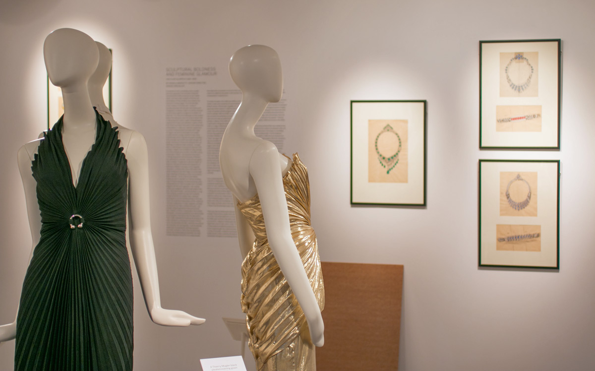 Thierry Mugler dresses circa 1980 and Van Cleef&Arpels drawings