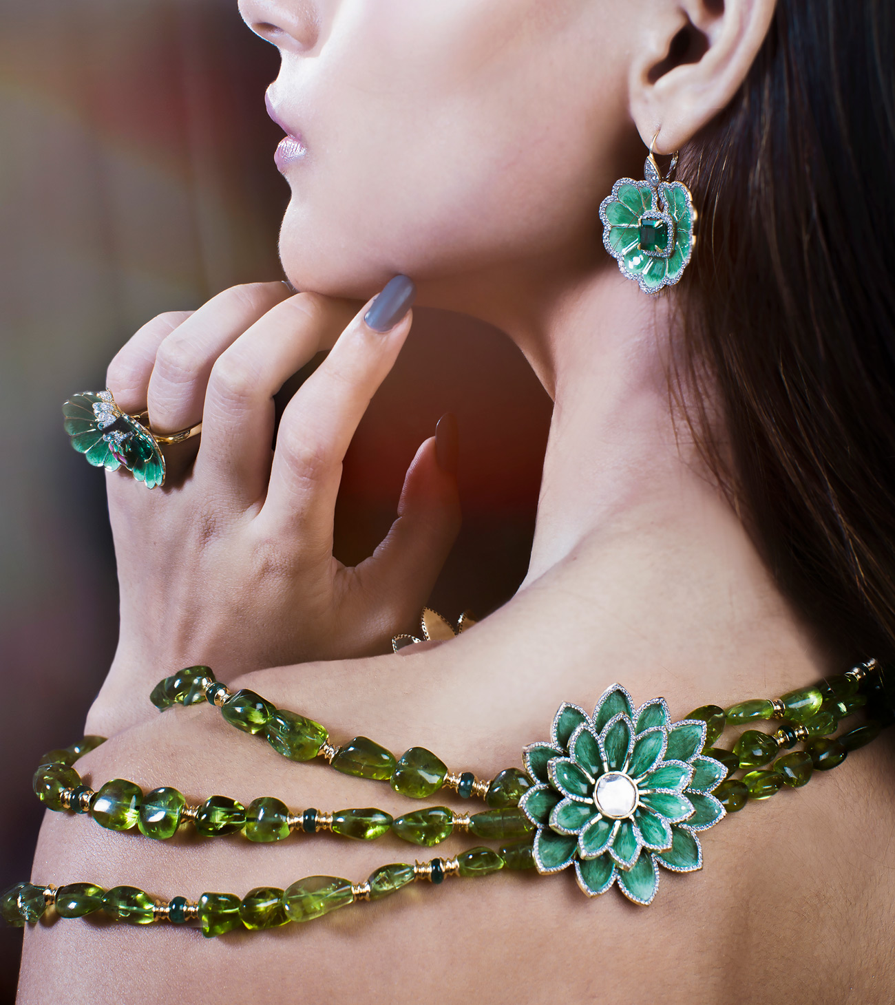 Jaipur Gems Dal Lake high jewellery parure with peridots, emeralds, diamonds and hot enamel