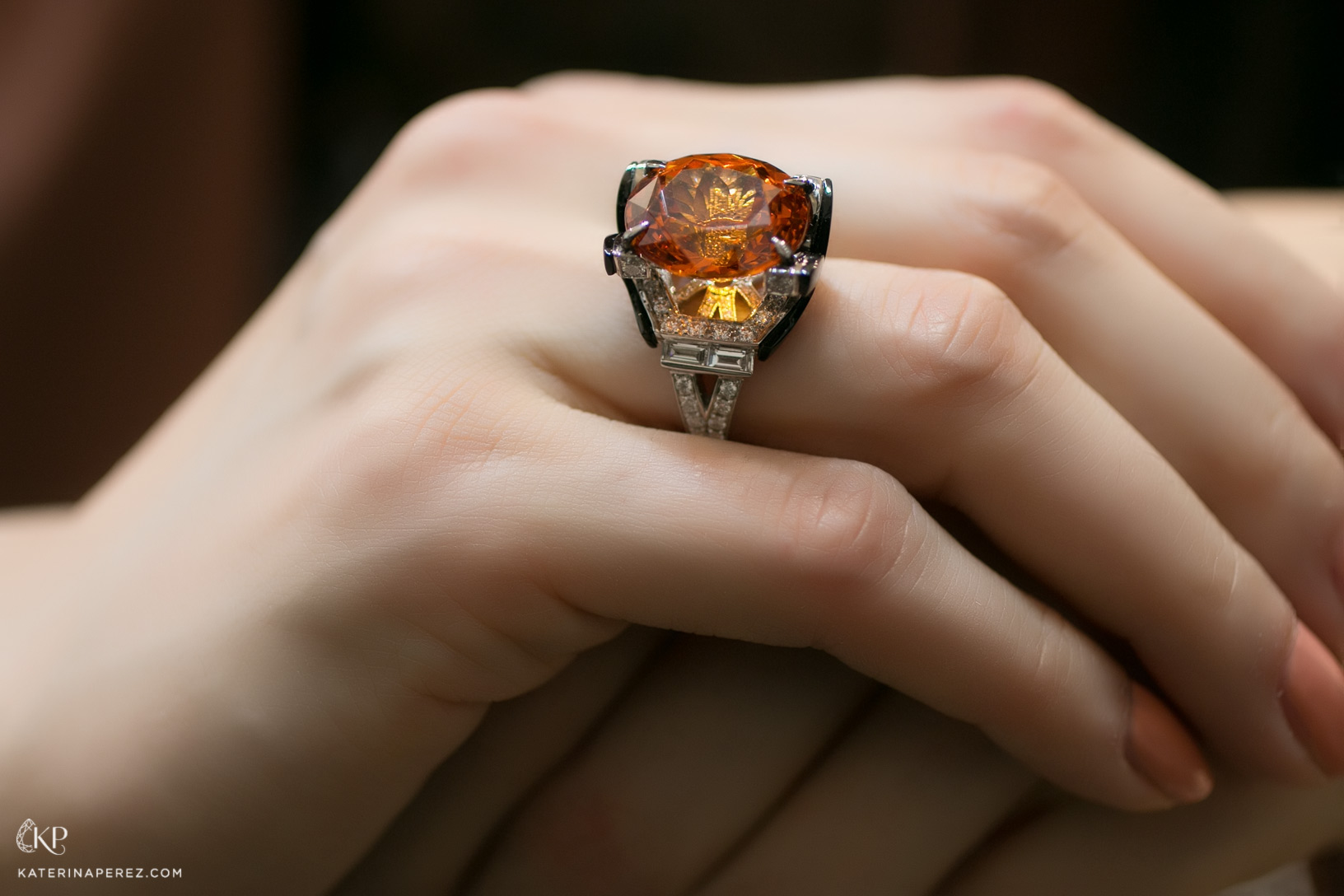 Carlo Barberis ring with 17.29ct mandarin garnet, onyx and diamonds
