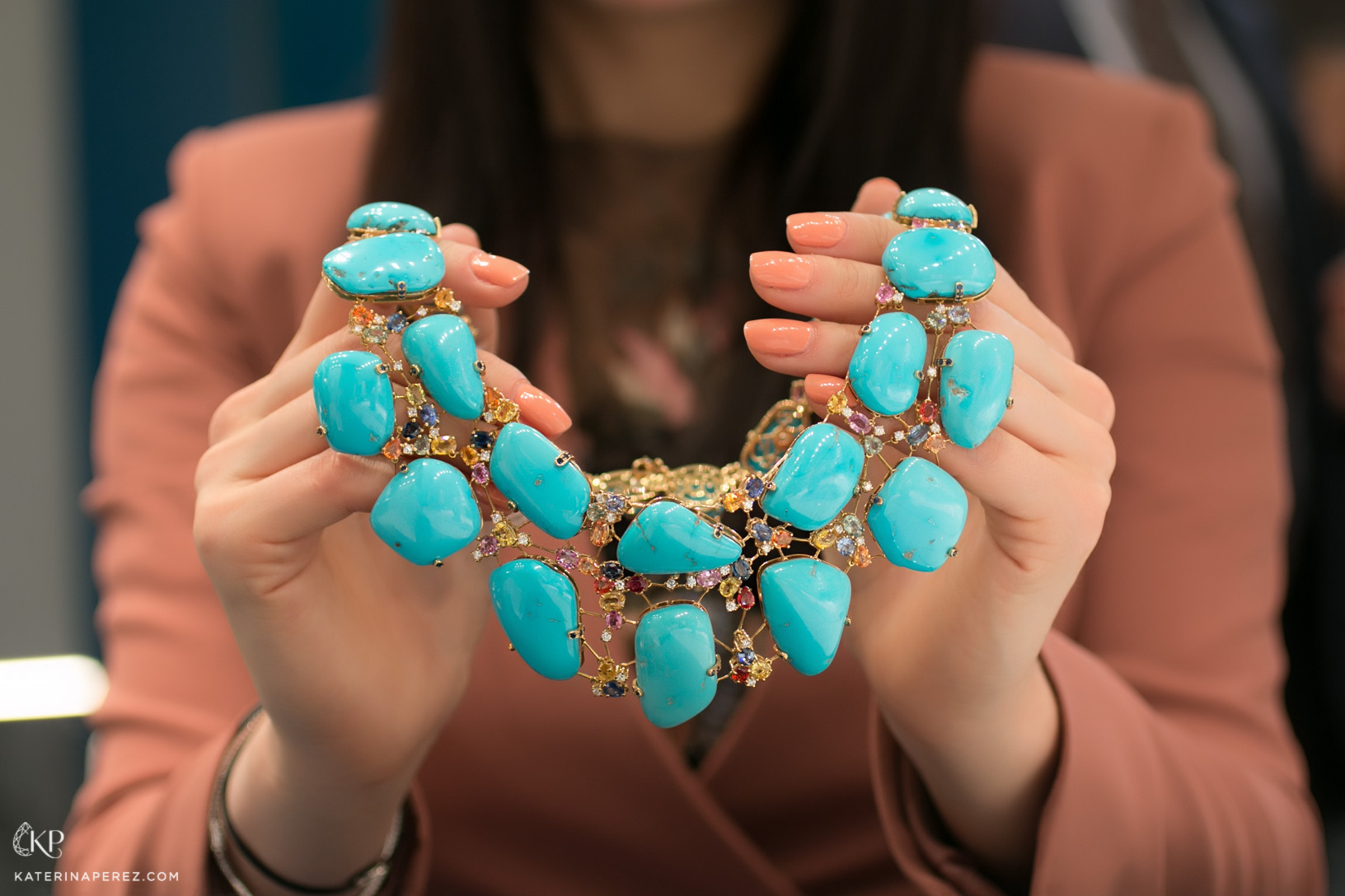 De Simone necklace with turquoise, multi-coloured sapphires and diamonds