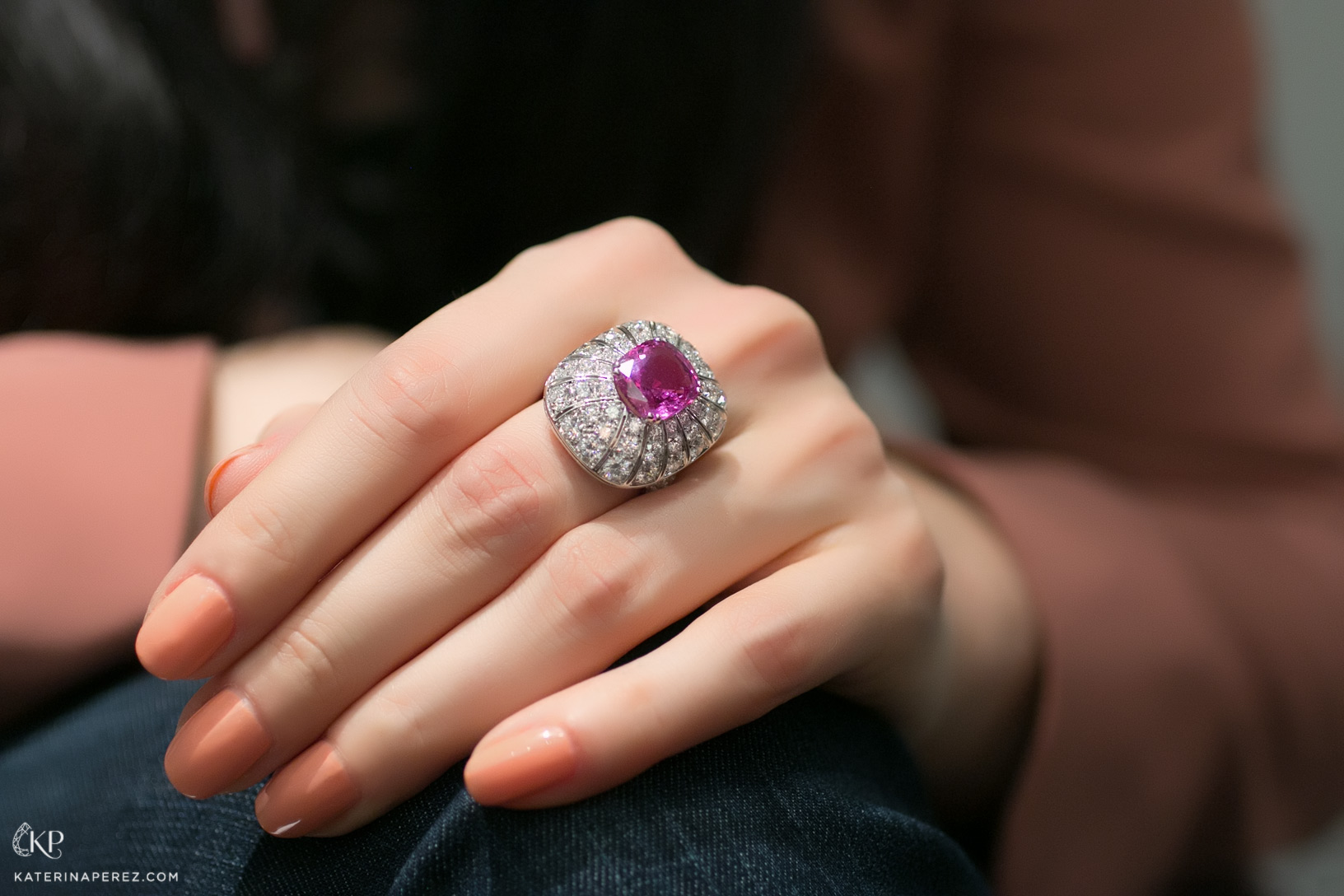 Picchiotti ring with pink 6.46ct rubellite and diamonds