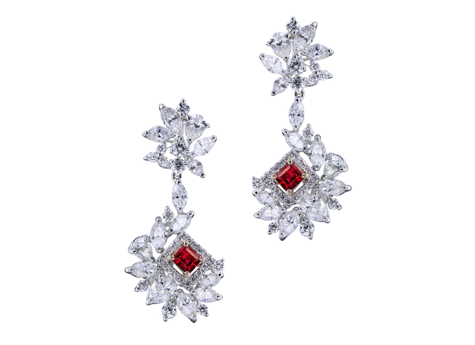 Caratell 0.41ct Bixbite / Red beryl and 4.01ct Diamond drop earrings from 'Sun Ray' collection