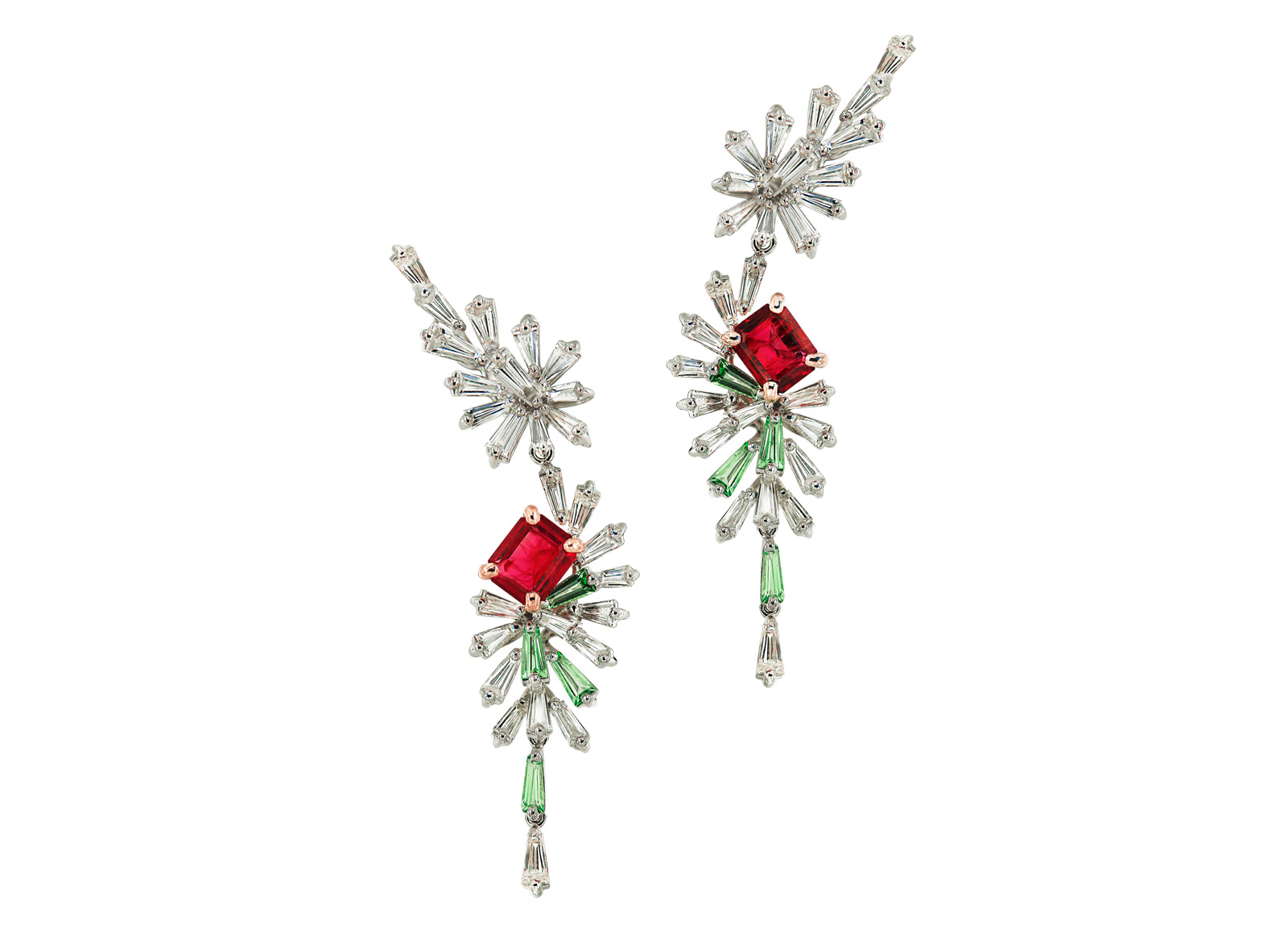 Caratell Bixbite / Red beryl, Green Garnet and Diamond drop earrings from 'Firework' collection