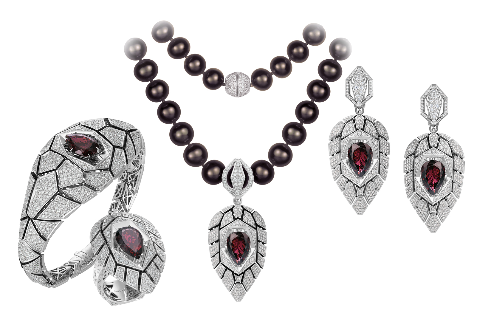 Singapore parure by Chamovskikh Jewellery House featuring rubellites and diamonds