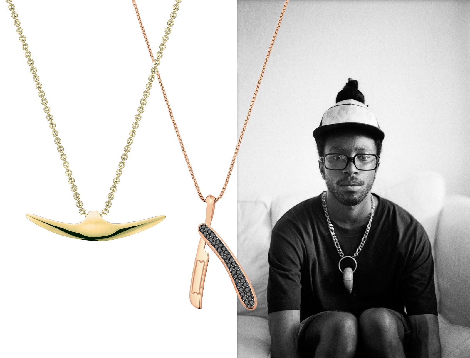 From left to right: Shaun Leane yellow gold necklace and Stephen Webster rose gold Switchblade necklace with black diamonds. Photo on the right by Ross Trevail from the Tomfoolery series