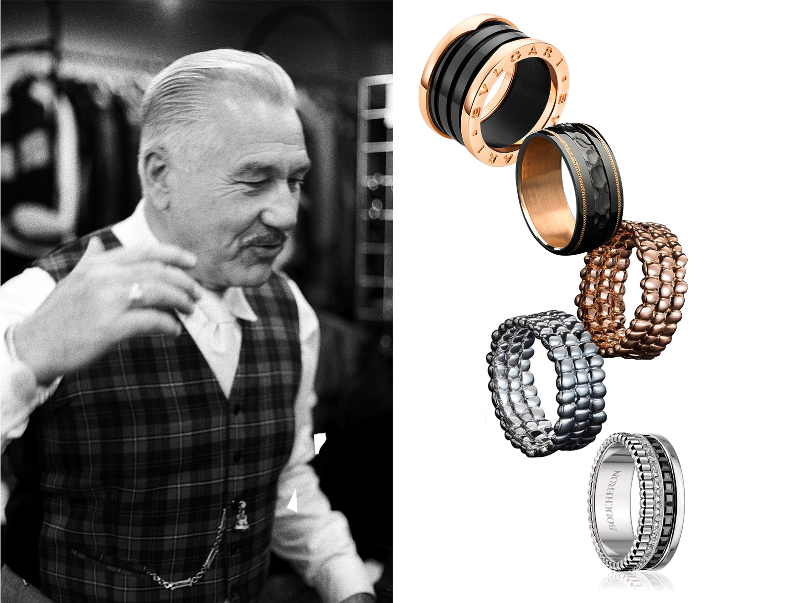 From top to bottom: Bulgari B. Zero men's ring, Zoltan David knightsteel ring, Julien Riad Sahyoun rings in rose gold and white gold, and Boucheron Quatre stack ring with diamonds. Photo on the left by Ross Trevail from the Tomfoolery series