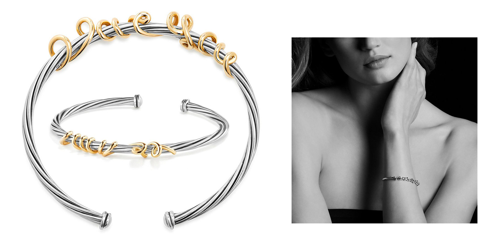 David Yurman 'Whispers' wrapped hidden message bracelet  in 18k gold and silver