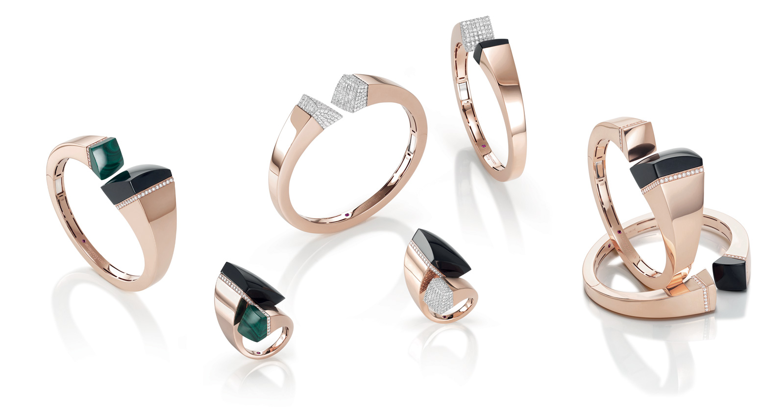 Roberto Coin Sauvage Privé collection in rose gold with malachite, black jade and diamonds