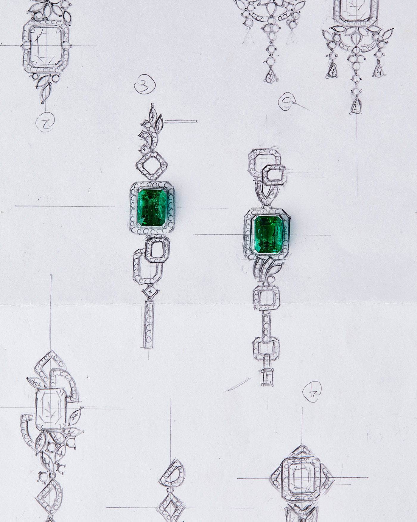 QIU Fine Jewelry earrings sketch