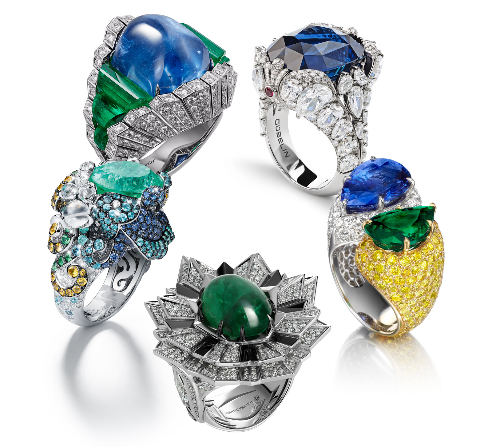 From top to bottom: Cartier 'Resonances de Cartier' ring with sapphire, emeralds and diamonds; Gubelin Seahorse ring with sapphire and diamonds, House of Tabbah ring with sapphire, emerald, yellow and colourless diamonds, Chamovskikh ring with cabochon emerald and diamonds, Giampiero Bodino ring with Paraiba tourmaline, sapphires and diamonds.