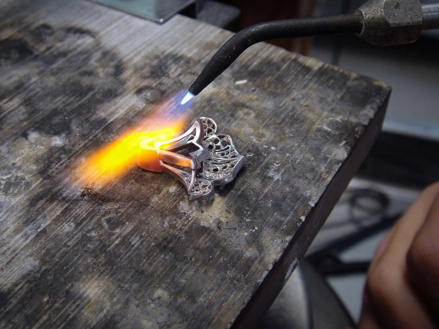 David Michael diamond ring in the making