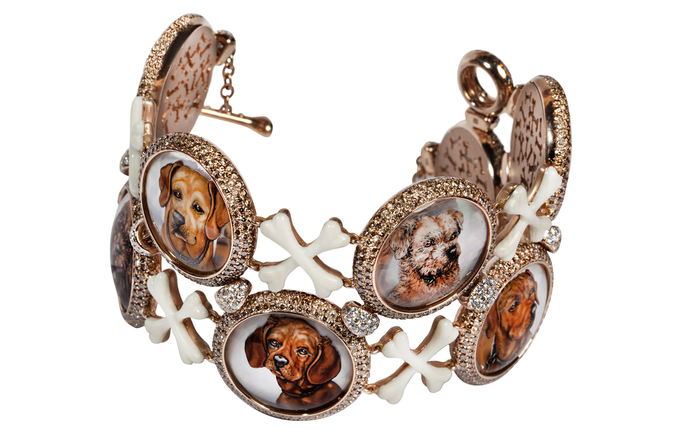 Suzanne Syz bracelet with rock crustal and diamonds in rose gold