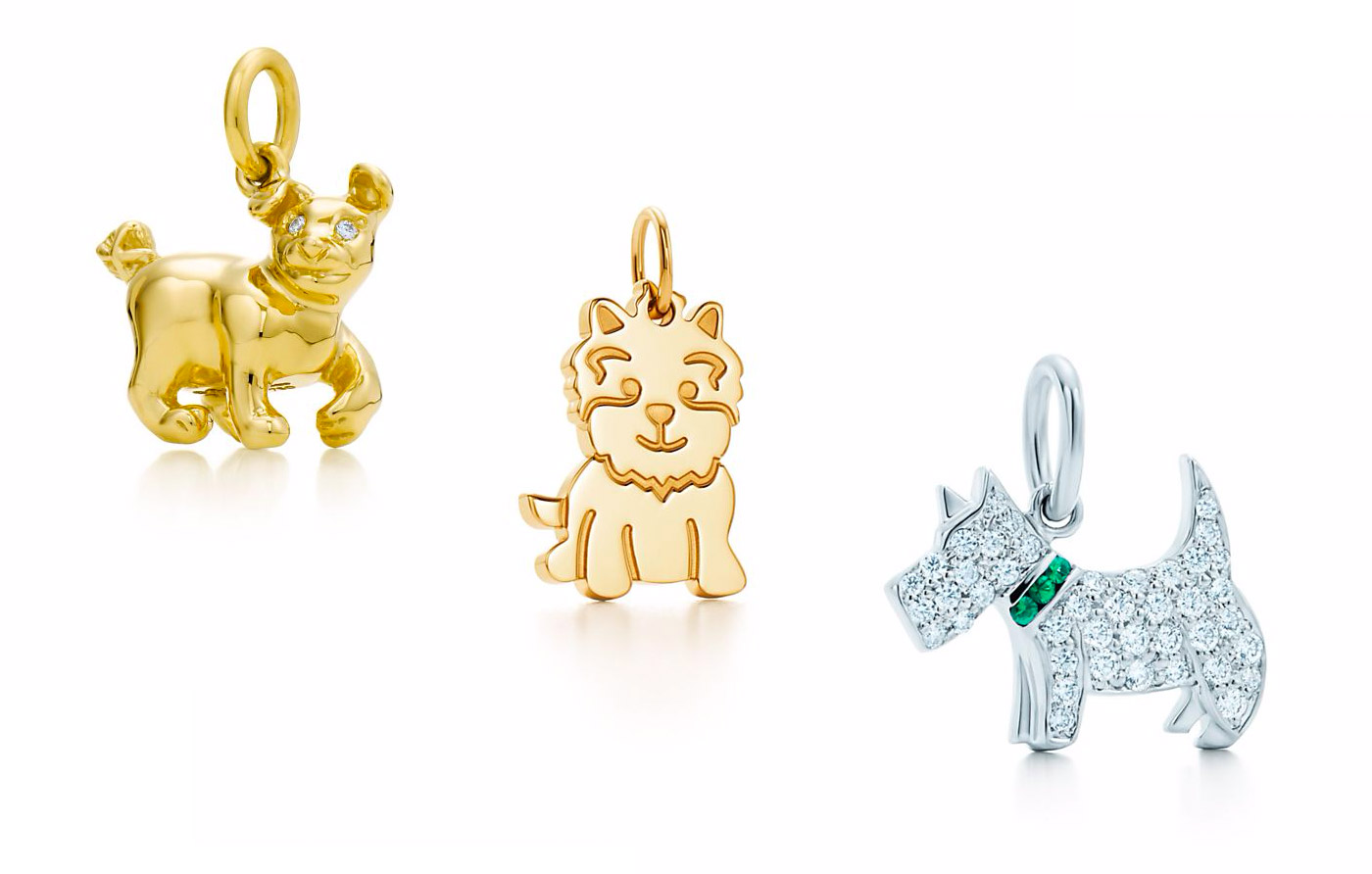 Tiffany&Co Paloma's Chinese Zodiac Dog Charm, New Yorkie charm in gold, Tsavorite Dog charm in white gold with diamonds