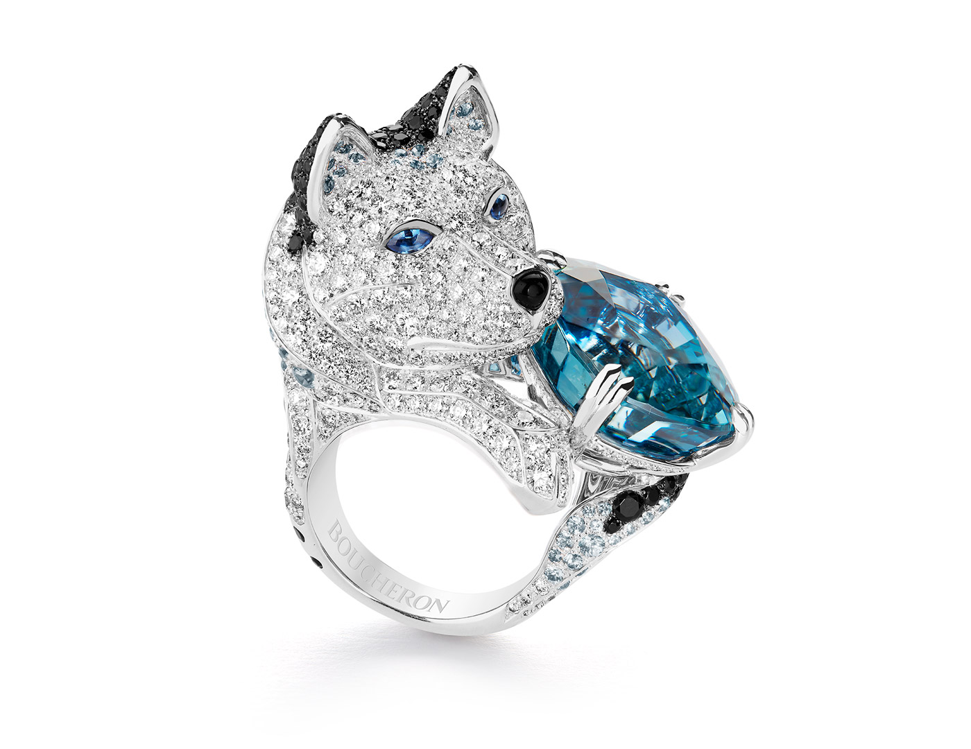 Boucheron Laika ring with aquamarine from L'Hiver Imperiale collection
