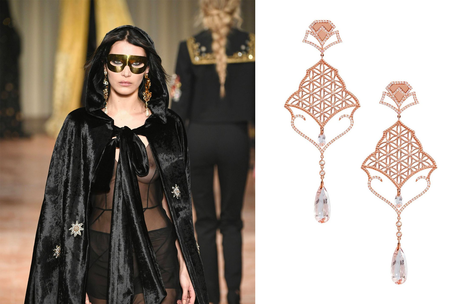 Alberta Ferretti Fall/Winter 2018 and Dionea Orcini earrings in rose gold